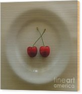 Two Cherries On A Plate Wood Print