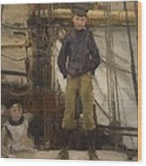 Two Children On Deck Wood Print