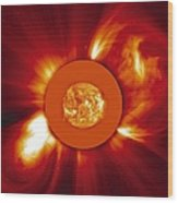 Two Coronal Mass Ejections Wood Print by Solar & Heliospheric Observatory consortium (ESA & NASA)