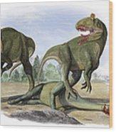 Two Cryolophosaurus Ellioti Dinosaurs Wood Print