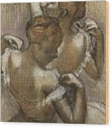 Two Dancers Adjusting Their Shoulder Straps Wood Print