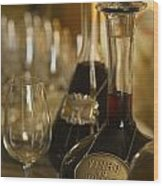 Two Decanters Of Port Wine And Glasses Wood Print