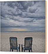 Two Deck Chairs At Sunrise On The Beach Wood Print