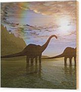 Two Diplodocus Dinosaurs Wade Wood Print