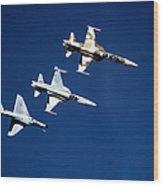 Two F-5 Tiger IIs And An A-4e Skyhawk Wood Print
