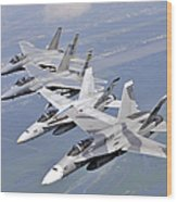 Two Fa-18 Hornets And Two F-15 Strike Wood Print