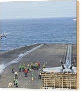 Two Fa-18 Hornets Take Wood Print
