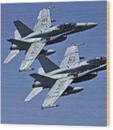 Two Fa-18c Hornets In Flight Wood Print