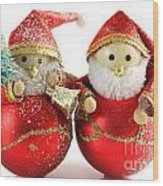 Two Father Christmas Decorations Wood Print