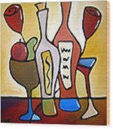 Two-fer - Abstract Wine Art By Fidostudio Wood Print by Tom Fedro - Fidostudio