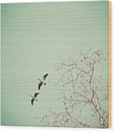 Two Geese Migrating Wood Print by Laura Ruth