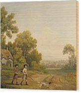 Two Gentlemen Going A Shooting Wood Print
