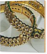 Two Green And Gold Bangles On Top Of Each Other Wood Print