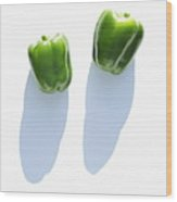 Two Green Bell Peppers Wood Print