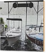Two Hanging Boats Wood Print