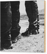 two hikers hillwalkers in the highlands of Scotland UK Wood Print
