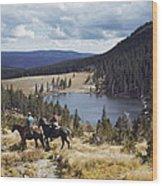 Two Horsemen Ride Above Pecos Baldy Wood Print
