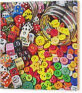 Two Jars Dice And Buttons Wood Print