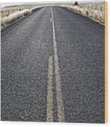 Two Lane Road Between Fenced Fields Wood Print by Jetta Productions, Inc