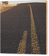 Two Lane Road Between Fields Wood Print