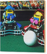 Two Lego Footballers With A Ball At Robocup-98 Wood Print by Volker Steger