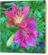 Two Lily Flowers Wood Print