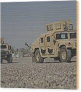 Two M1114 Humvee Vehicles At Camp Taji Wood Print