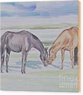 Two Mares Wood Print
