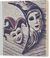 Two Masks On Sheet Music Wood Print