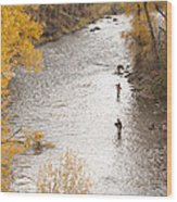 Two Men Flyfishing On The Aspen-lined Wood Print