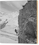 Two Mountain Climbers On The Side Wood Print by Everett