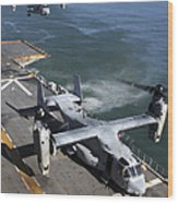 Two Mv-22 Ospreys Land On The Flight Wood Print