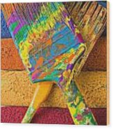 Two Paintbrushes On Paint Rollers Wood Print
