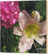 Two Pink Neighbors- Lily And Phlox Wood Print