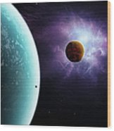 Two Planets Born From The Same Star Wood Print