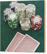 Two Playing Cards And Piles Of Gambling Chips On A Table, Las Vegas, Nevada Wood Print