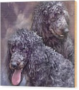 Two Poodles Wood Print