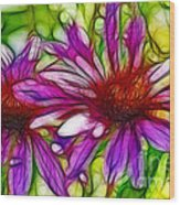 Two Purple Daisy's Fractal Wood Print
