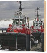 Two Red Tugs Wood Print