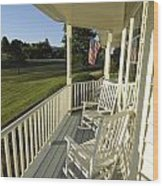 Two Rocking Chairs On A Sunlit Porch Wood Print by Scott Sroka
