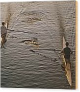 Two Rowers Paddle Down The Charles Wood Print by Tim Laman