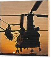Two Royal Air Force Ch-47 Chinooks Take Wood Print