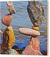 Two Stacks Of Balanced Rocks Wood Print
