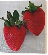 Two Strawberries On A Glass Plate Wood Print