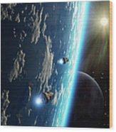 Two Survey Craft Orbit A Terrestrial Wood Print by Brian Christensen