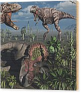 Two T. Rex Dinosaurs Confront Each Wood Print by Mark Stevenson