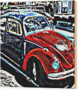 Two Toned Vw Beetle Wood Print by Samuel Sheats