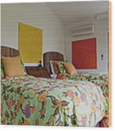Two Twin Beds Wood Print