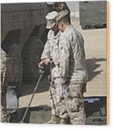 Two U.s. Marines Use A Mine Detector Wood Print