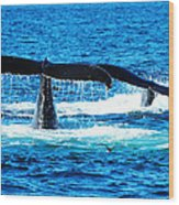 Two Whale Tails Wood Print